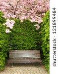 garden bench under arch created ...