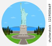 statue of liberty in new york... | Shutterstock .eps vector #1219000669