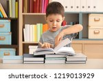 cute little boy with lot of... | Shutterstock . vector #1219013929