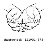 cupped hands  folded arms... | Shutterstock .eps vector #1219014973