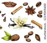 spices vanilla  cinnamon  cocoa ... | Shutterstock . vector #1219045600