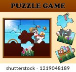 jigsaw puzzle game with happy... | Shutterstock . vector #1219048189