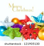 colorful christmas ornaments on ... | Shutterstock . vector #121905130