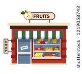 restaurants and shops facade ... | Shutterstock .eps vector #1219058743
