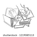 vector concept with open books... | Shutterstock .eps vector #1219085113