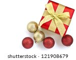 festive gift box with christmas ... | Shutterstock . vector #121908679