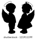 two black angel silhouettes...   Shutterstock .eps vector #121911199