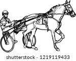 trotter in harness drawing  ... | Shutterstock .eps vector #1219119433