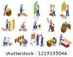 craftsman isometric icons set... | Shutterstock .eps vector #1219155046