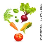 falling vegetables isolated on... | Shutterstock . vector #1219171033