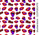 female lips. mouth with a kiss  ... | Shutterstock .eps vector #1219181470