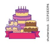 delicious cakes celebration... | Shutterstock .eps vector #1219183396