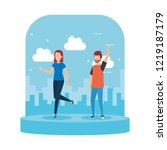 young couple celebrating...   Shutterstock .eps vector #1219187179