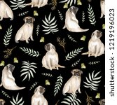 seamless pattern with cute pugs ... | Shutterstock . vector #1219196023