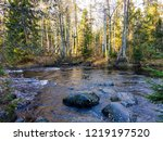 Autumn forest river rocks view. ...
