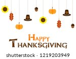 happy thanksgiving day card on... | Shutterstock . vector #1219203949
