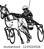 trotter in harness drawing  ... | Shutterstock .eps vector #1219224526