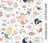 mermaid seamless pattern vector ... | Shutterstock .eps vector #1219252249
