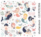 vector set of cute mermaids and ... | Shutterstock .eps vector #1219252306