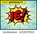 happy birthday postcard  in a... | Shutterstock .eps vector #1219297813