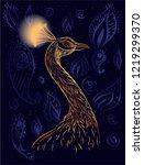 drwaing ink peacock on the... | Shutterstock .eps vector #1219299370