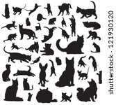 Stock vector collection of cat silhouettes 121930120