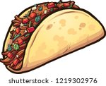 cartoon meat taco with cilantro ... | Shutterstock .eps vector #1219302976