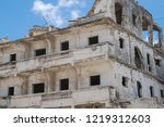 houses destroyed during the war ... | Shutterstock . vector #1219312603