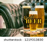 three draft beers big and small ... | Shutterstock . vector #1219313830