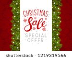 christmas tree border with... | Shutterstock .eps vector #1219319566