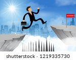 businessman jump from the cliff ... | Shutterstock .eps vector #1219335730