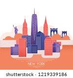 new york skyline. travel and... | Shutterstock .eps vector #1219339186
