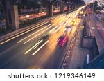 fast cars on highway in evening ...   Shutterstock . vector #1219346149