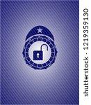 open lock icon inside badge...   Shutterstock .eps vector #1219359130