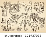 mythic creatures | Shutterstock .eps vector #121937038