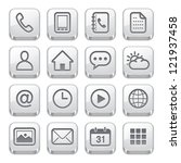 Mobile Phone Icons : Silver Style - stock vector