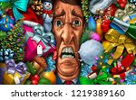 holiday stress and christmas... | Shutterstock . vector #1219389160