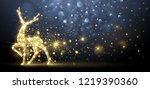 christmas card with silhouette... | Shutterstock .eps vector #1219390360