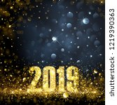 happy new year banner with gold ... | Shutterstock .eps vector #1219390363