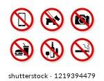 set of prohibited symbols icon... | Shutterstock .eps vector #1219394479