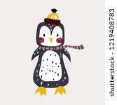 cute bunny penguin in winter... | Shutterstock .eps vector #1219408783