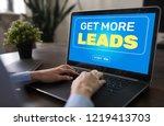 lead generation start button on ... | Shutterstock . vector #1219413703