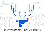 deer head on wall christmas new ... | Shutterstock .eps vector #1219414039