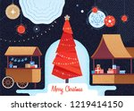 christmas market and holiday... | Shutterstock .eps vector #1219414150