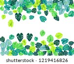 teal tropical jungle leaves... | Shutterstock .eps vector #1219416826