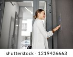 young business woman in white... | Shutterstock . vector #1219426663