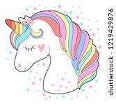 white unicorn head vector... | Shutterstock .eps vector #1219429876