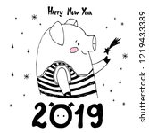 happy new year 2019 card. merry ... | Shutterstock .eps vector #1219433389