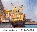 the vessel alongside at...   Shutterstock . vector #1219454209