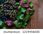 lots of juicy ripe rural grapes ... | Shutterstock . vector #1219456030